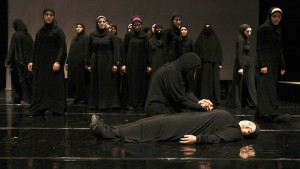 """Syrian refugee women perform the play """"The Syria Trojan Women"""" in Amman"""