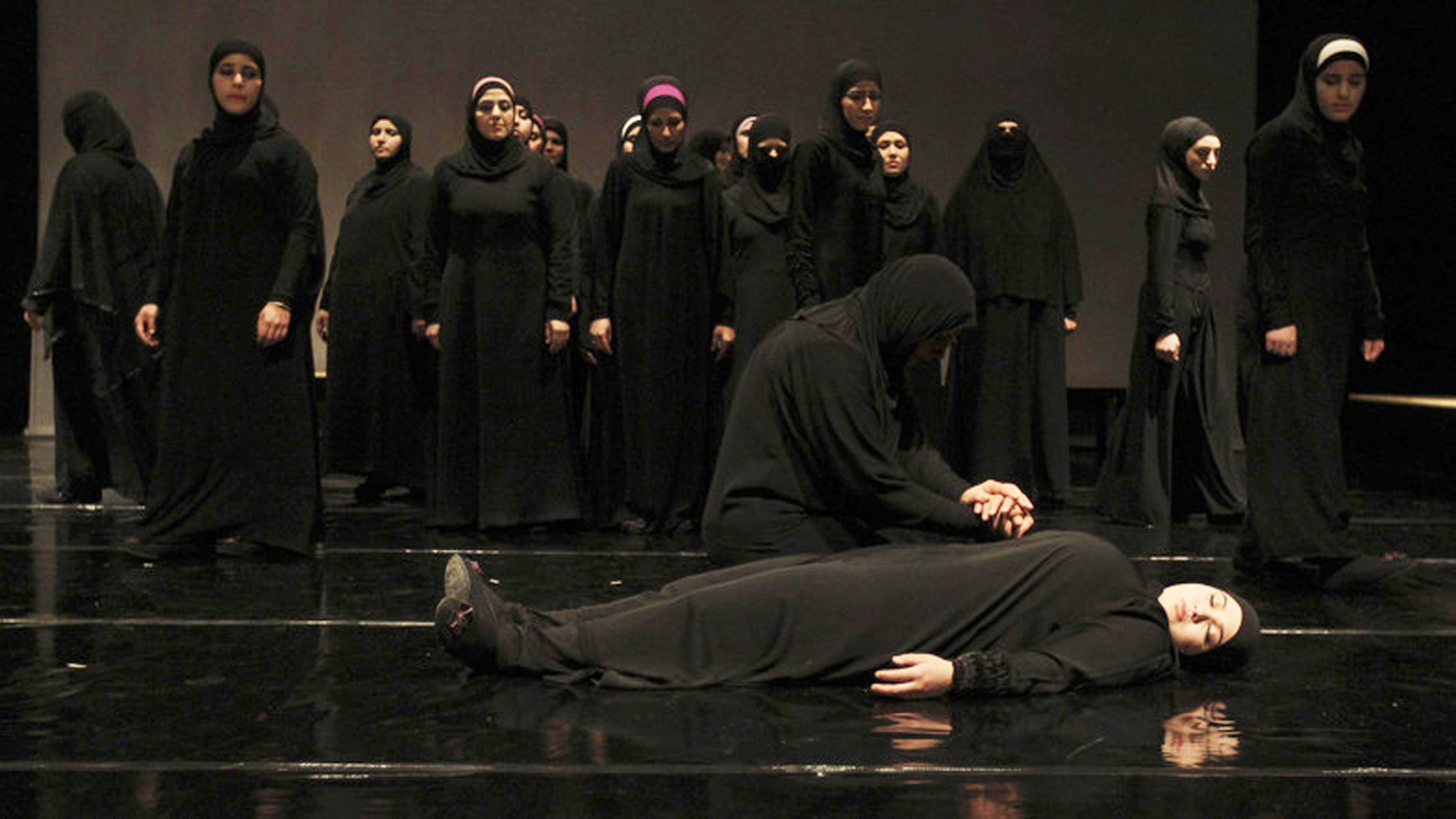 "Syrian refugee women perform the play ""The Syria Trojan Women"" in Amman"